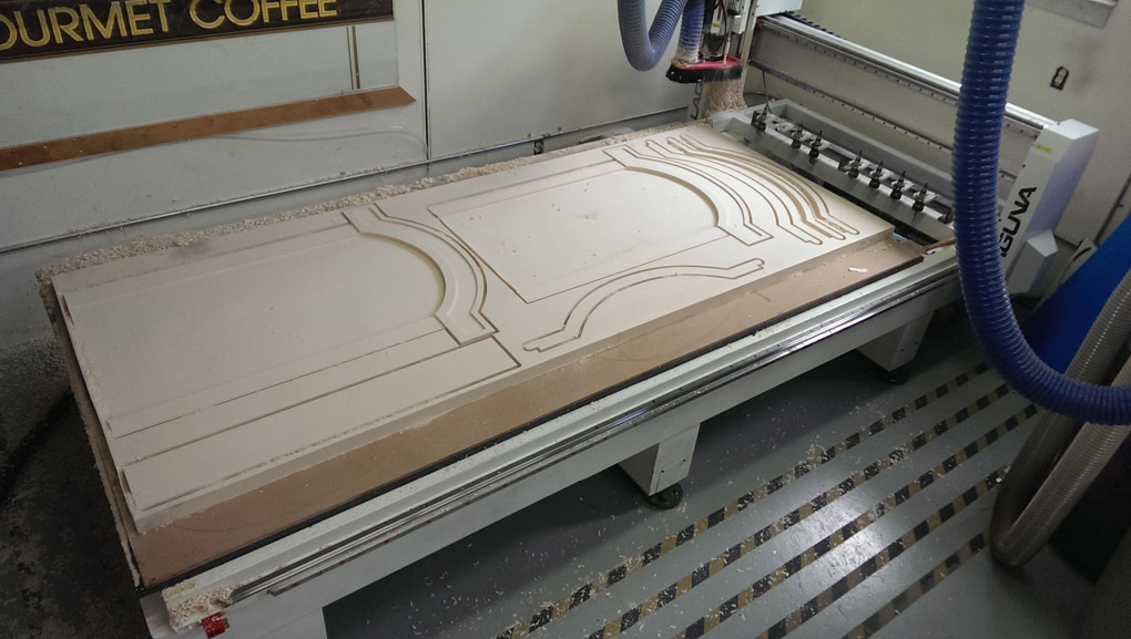 Computer Sign Carving CNC project freshly cut on Laguna SmartShopII