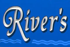 detail of rivers edge sign cnc sign carving