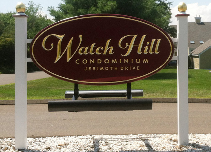 Watch-Hill Condominum Sign with Custom Newel Post Caps