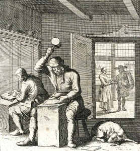 Old Engraving of Goldbeating, the ancient process of hammering gold to thin layers for gold leafing.
